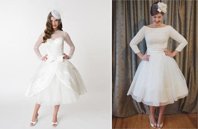 Dois modelos de vestido de noiva curto com mangas longa