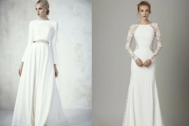 Dois modelos de vestidos de noiva com mangas longas