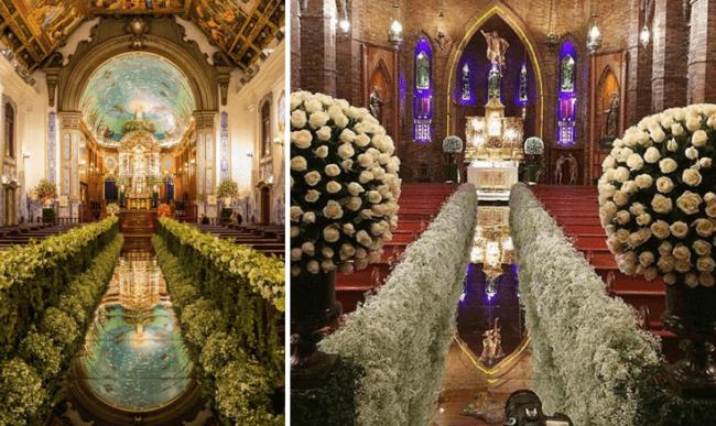 Duas igrejas decoradas com tapete espelhado