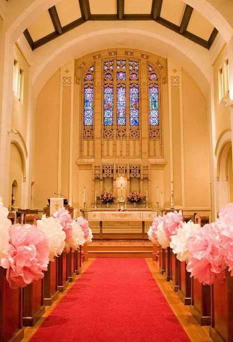 Flores de papel para casamento na igreja