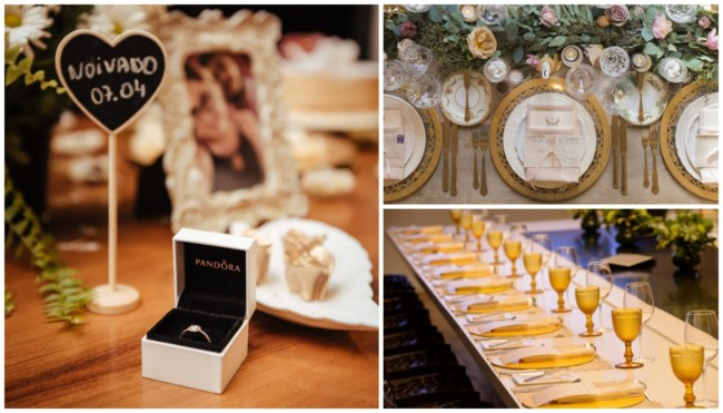 Jantar de noivado decorado