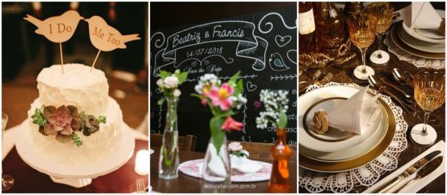 Mesas decoradas em jantares de noivado
