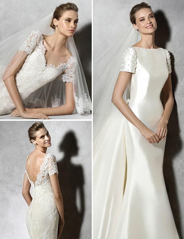 Modelos de vestidos de noiva com manguinhas curtas