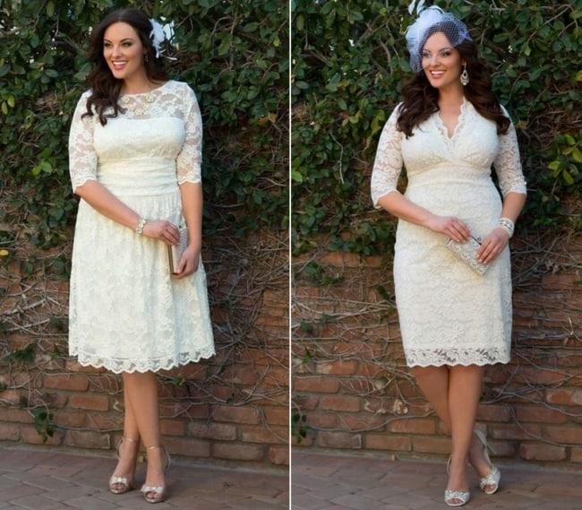 Noiva elegante com vestido curto e chapéu
