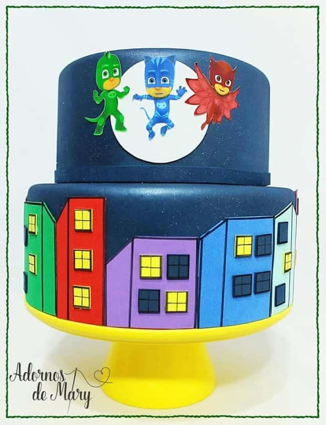 Sugestão de bolo fake dos PJ Masks