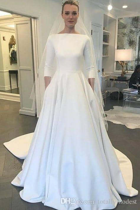 Vestido de noiva COM MANGA 3 4 todo liso