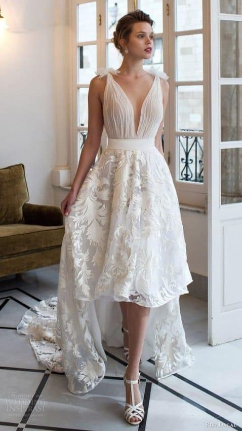 Vestido de noiva com saia mullet rendada