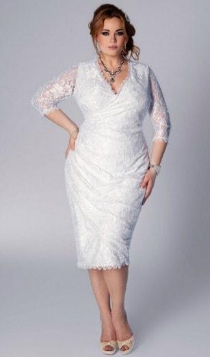 Vestido de noiva plus size curto de renda