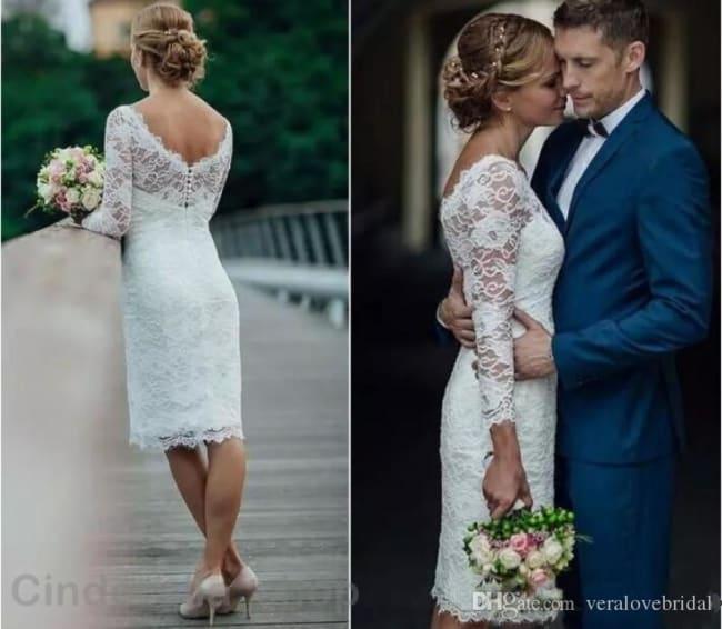 Vestido de noiva rendado tubinho