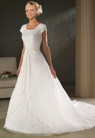 Vestido de noiva simples com manga curta