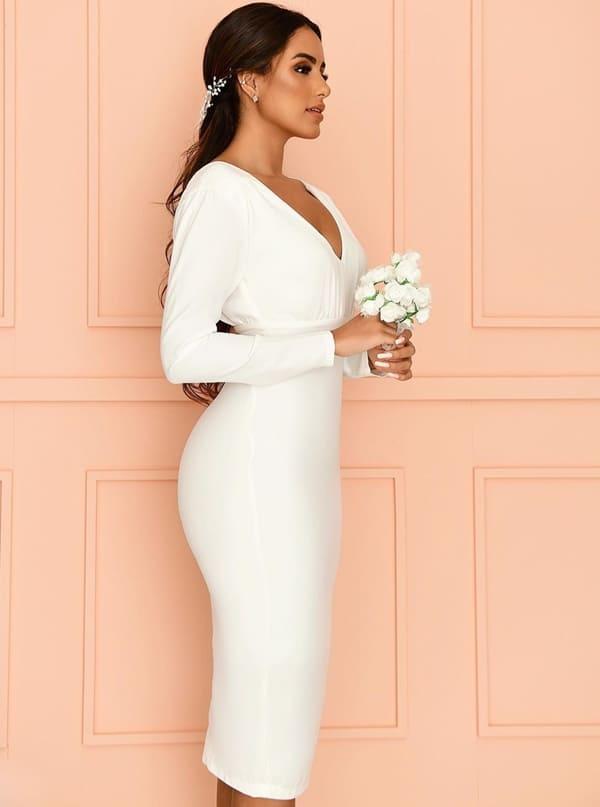 Vestido simples para noiva minimalista