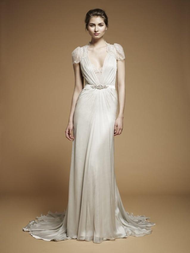 Vestido vintage de noiva com manga curta