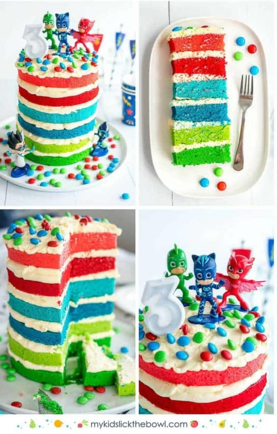 Visual de bolo dos PJ Masks colorido