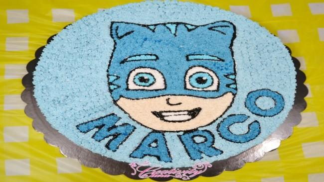 bolo dos PJ Masks com nome personalizado