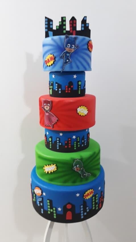 bolo dos PJ Masks para decoração de festa