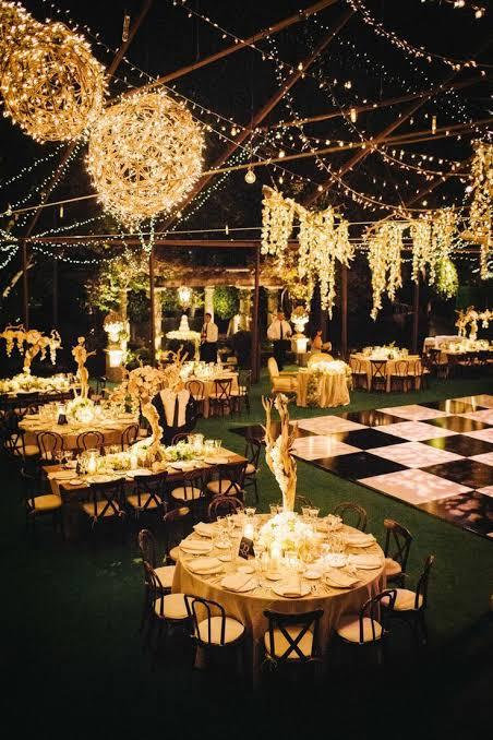 festa noturna de casamento perfeito