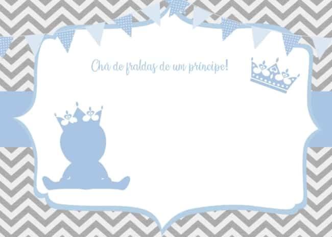 convite para chá de fraldas de príncipe