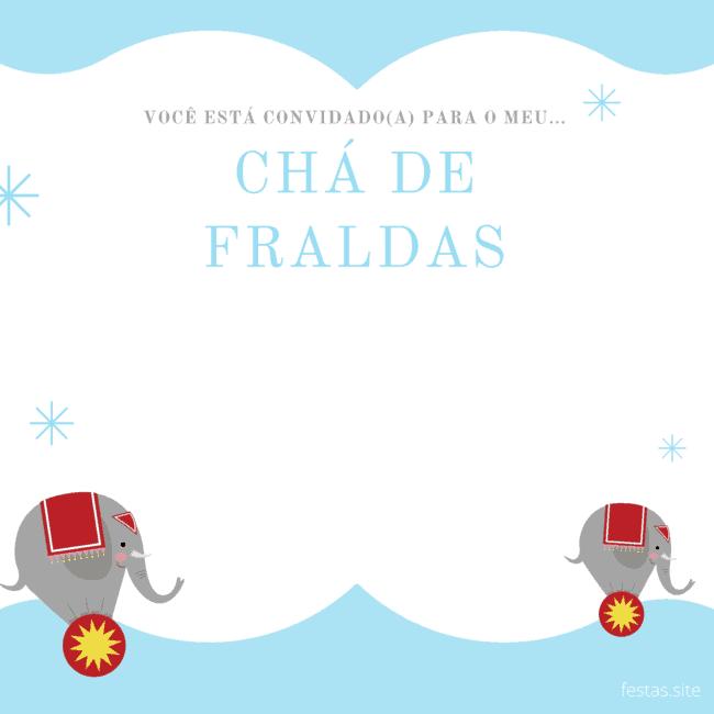 convite de chá de fraldas de elefantinho azul