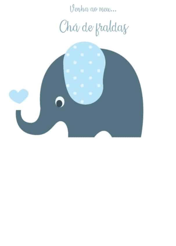 convite simples de elefante para menino