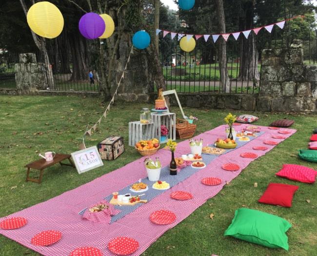 decoração de picnic para 15 anos