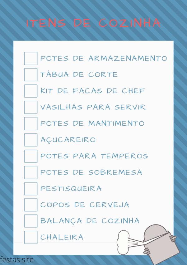 lista de presente com itens de cozinha