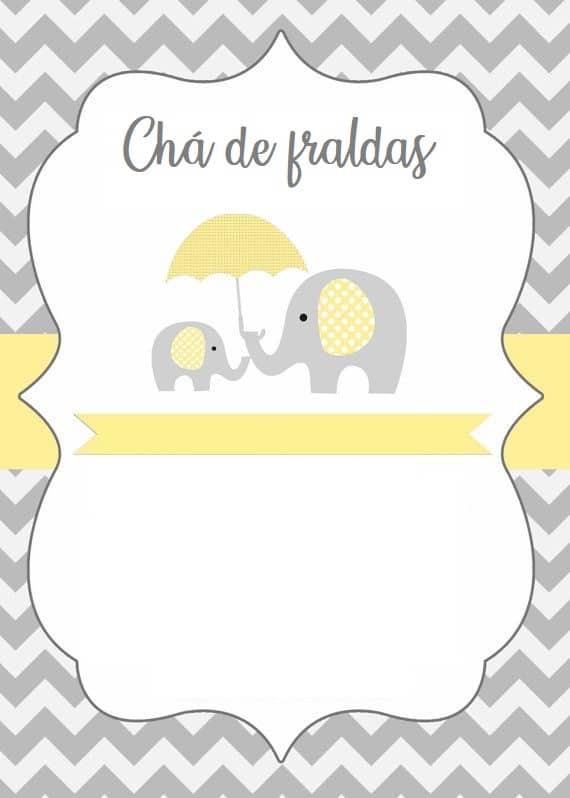convite de elefante grátis