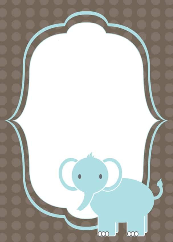 convite azul e marrom de elefantinho