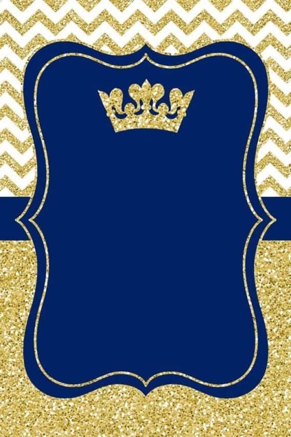 convite azul e dourado para imprimir