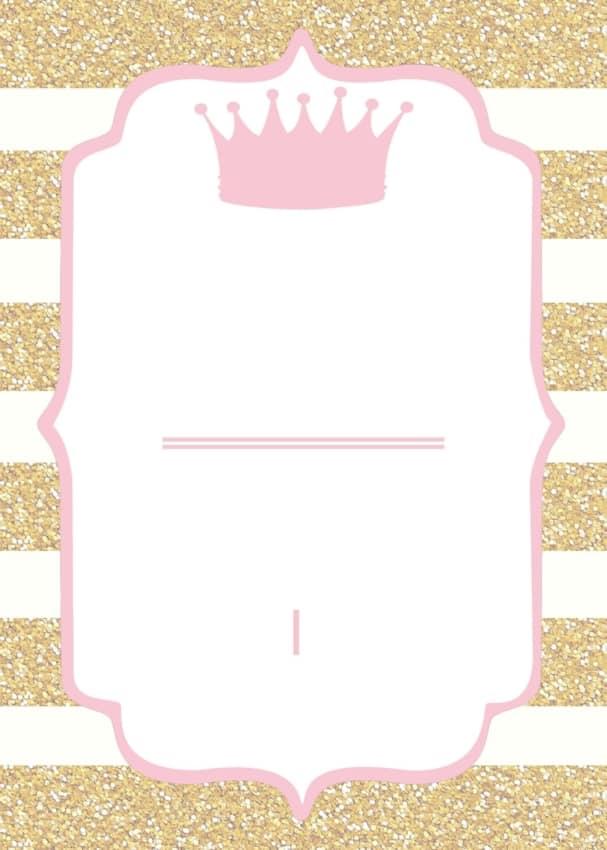 convite rosa e dourado para chá de fraldas