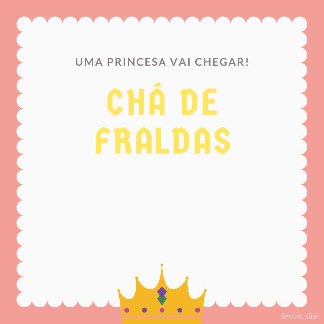 convite de chá de fraldas de princesa