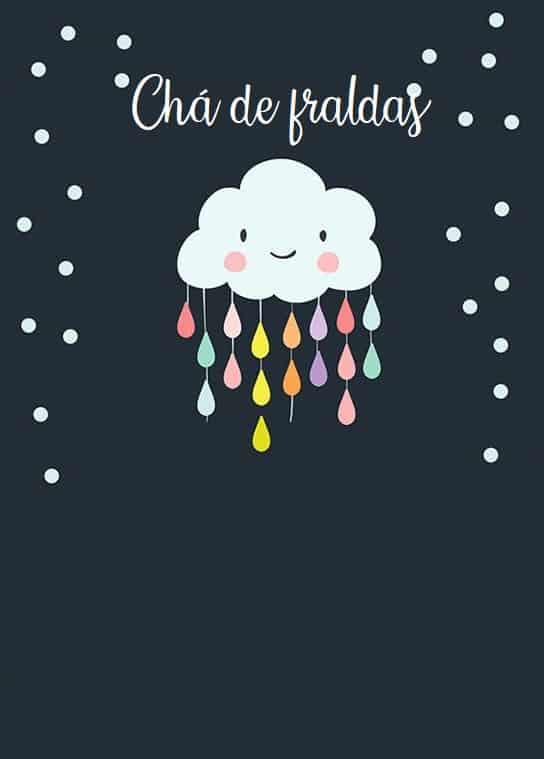 convite de nuvem com gotas para imprimir