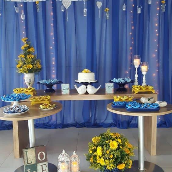 decoração azul para casamento simples