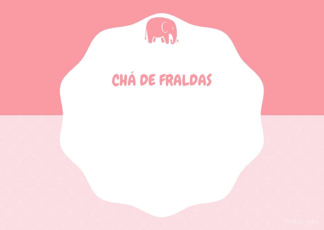 convite rosa de elefantinho