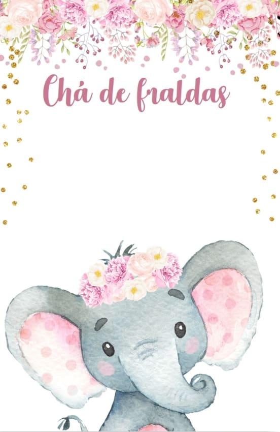 convite rosa de elefantinho para imprimir