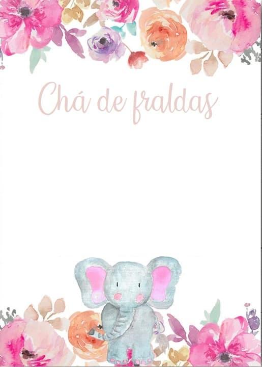 convite com estampa floral para imprimir grátis