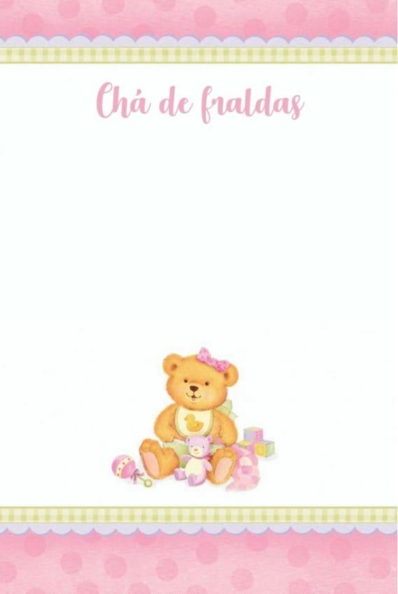 convite de ursinha rosa