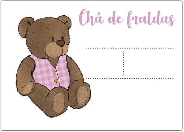 convite simples de urso