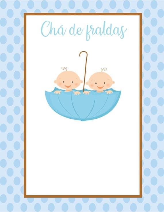 chá de fraldas de bebês gêmeos