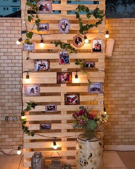 casamento com mural de fotos