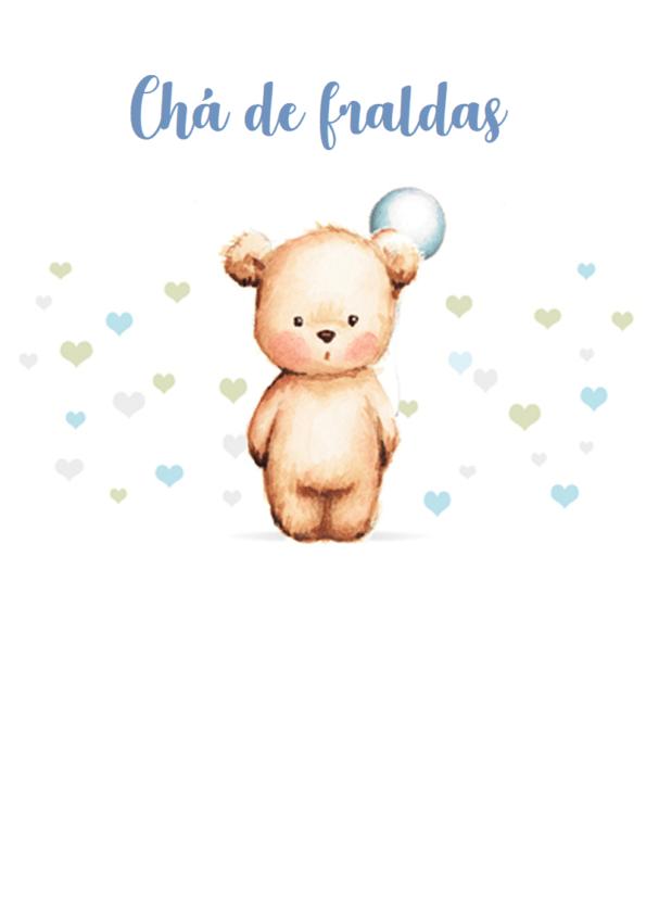convite azul e verde de ursinho