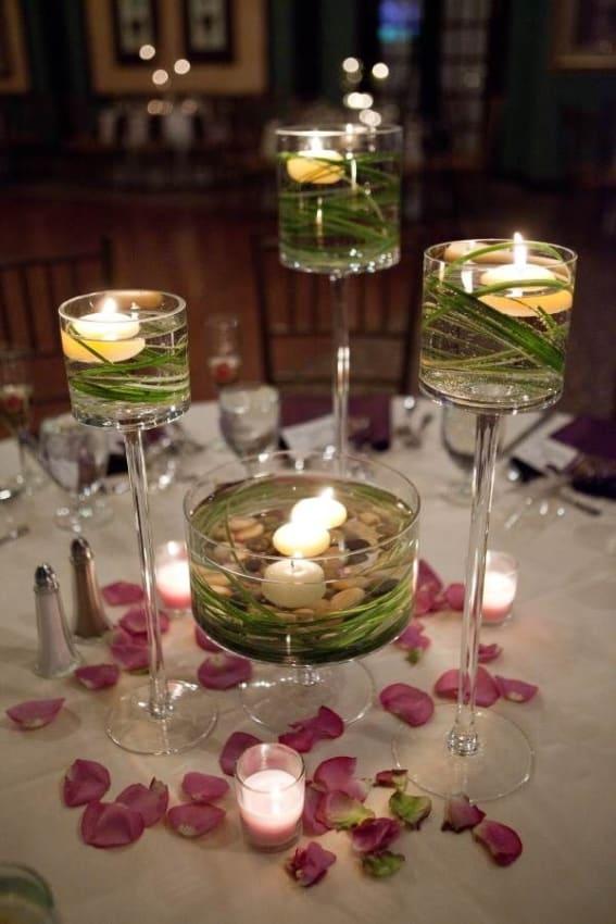 arranjos simples com velas para casamento