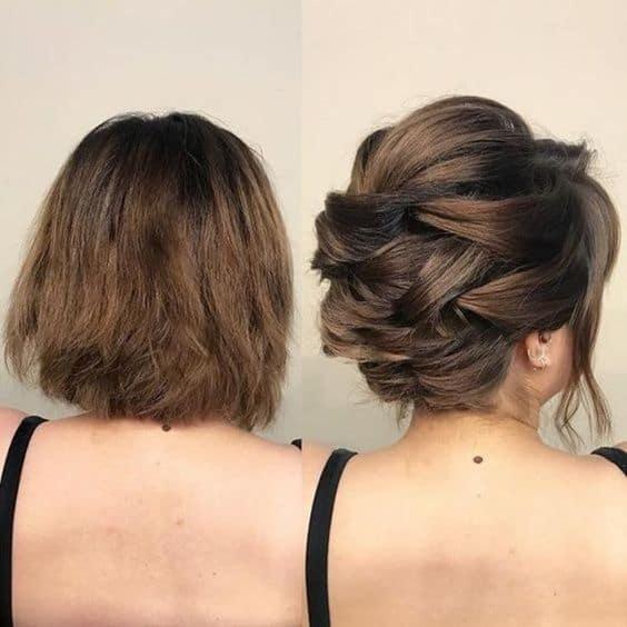 Antes e depois de penteado para casamento curto