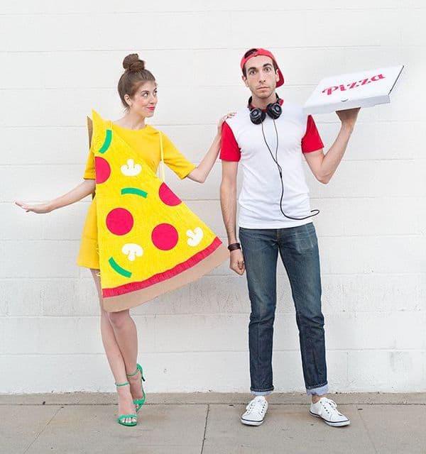 Fantasia de pizza e entregador para casal
