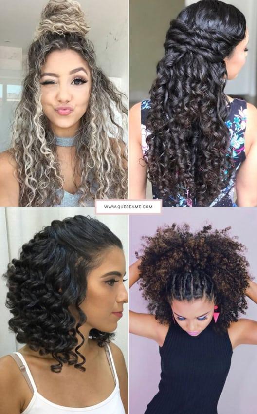 Penteados semi presos para cabelos cacheados