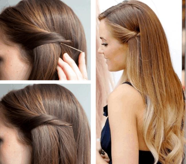 Penteados simples para casamento DIY com grampo
