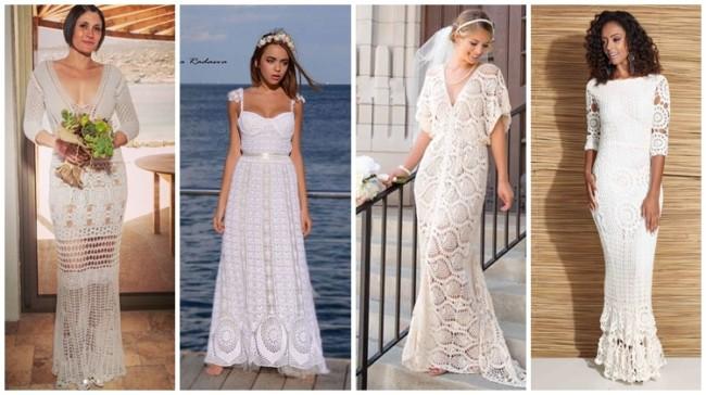 modelos de vestido de noiva de crochê