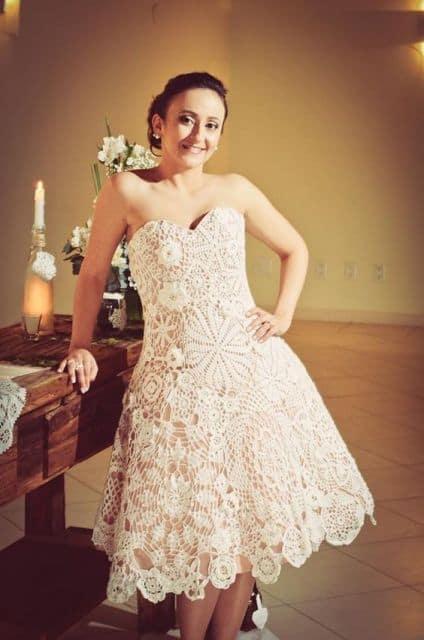 vestido de noiva rodado curto