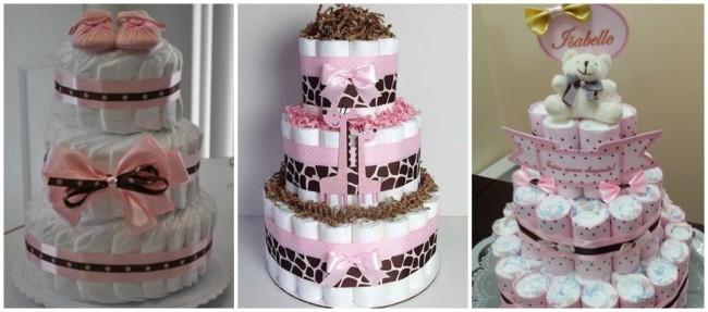 bolo de fraldas rosa e marrom