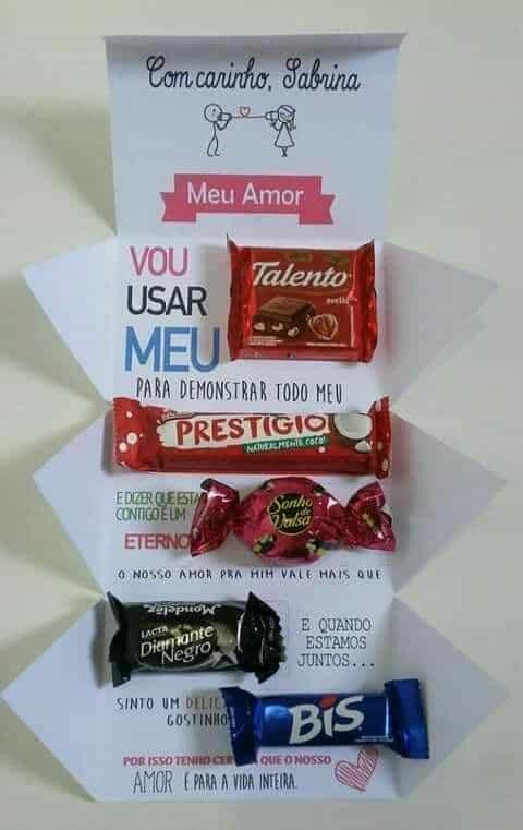 carta com chocolates para namoradao