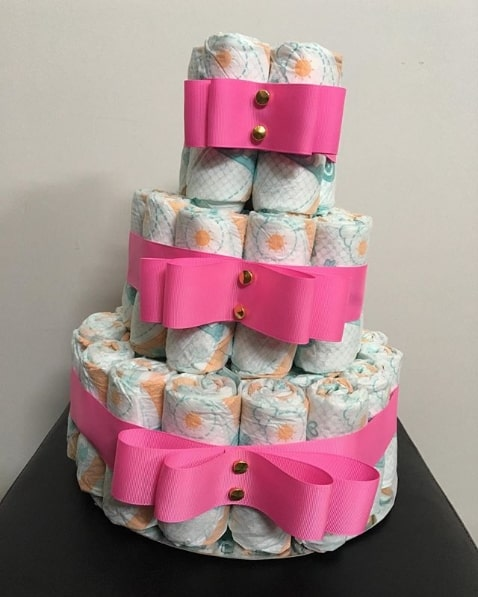 bolo de fralda simples para menina